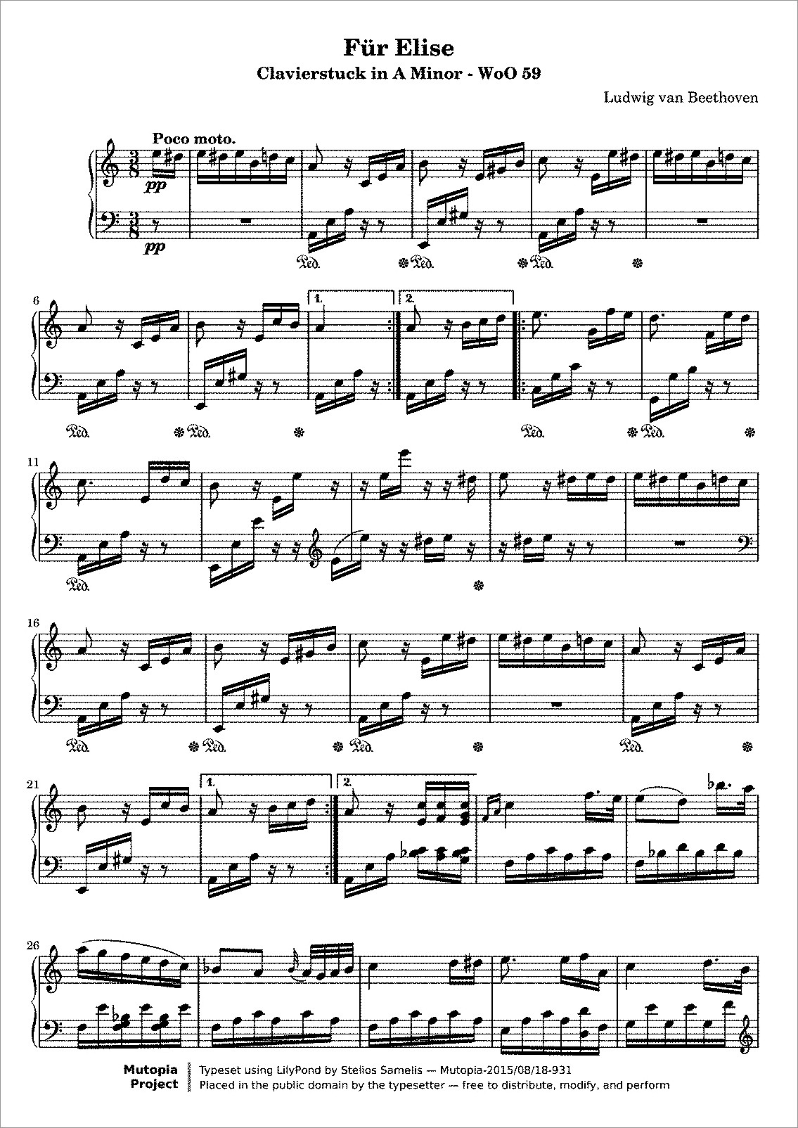 Beethoven Fur Elise Piano Letters