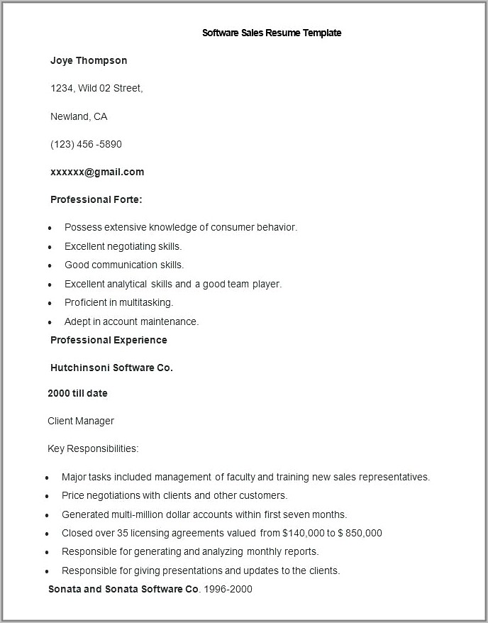 Best Resume Format For Sales Job