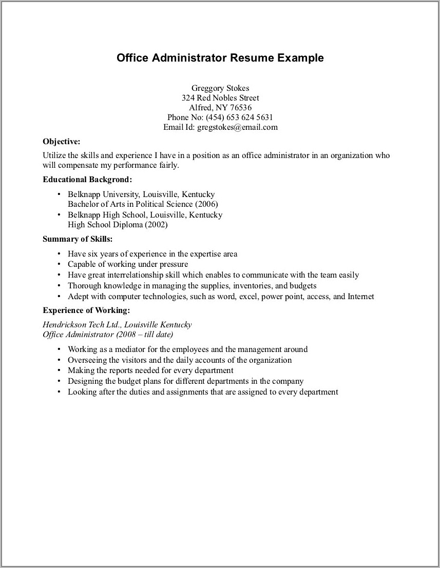 Best Resume Template For No Work Experience