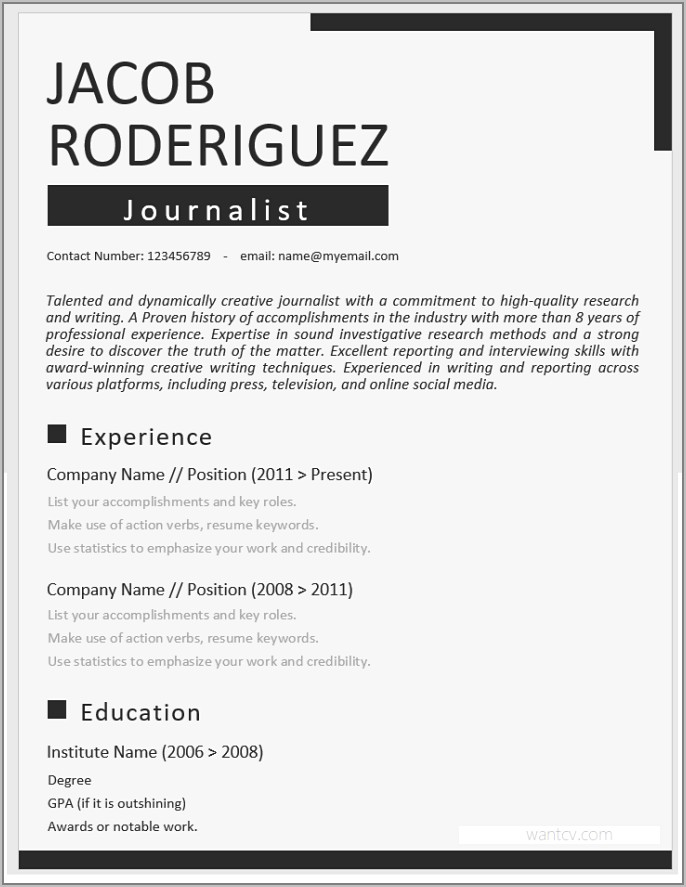 Best Resume Templates Word Free Download