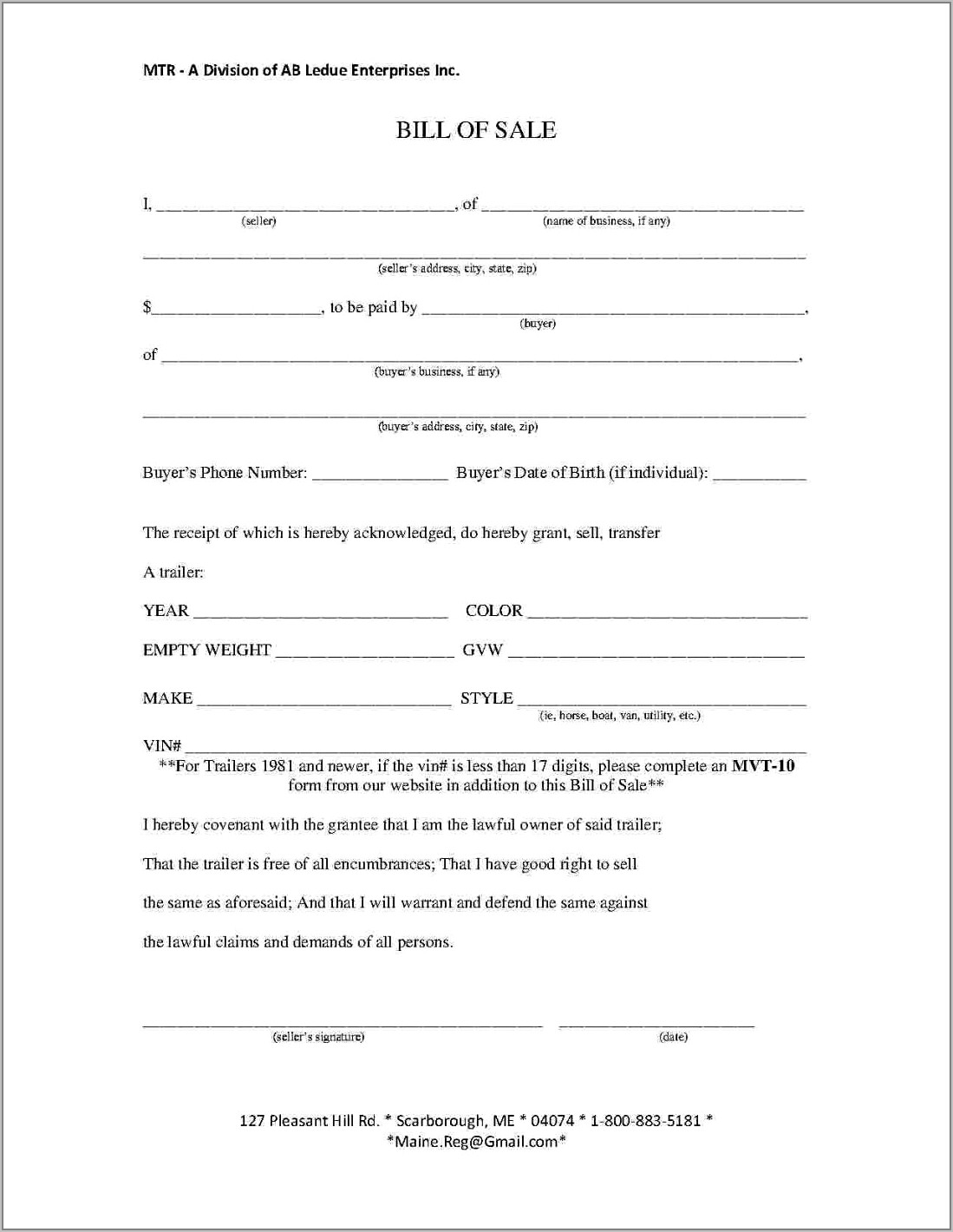 Bill Of Sale Template For Boat Ontario