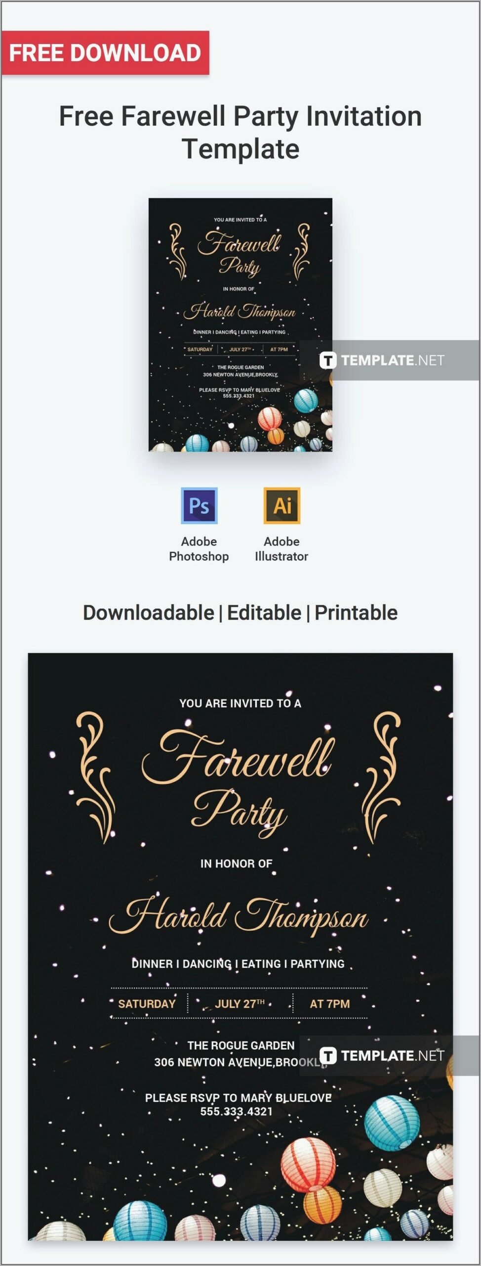 Blank Farewell Invitation Template Scaled