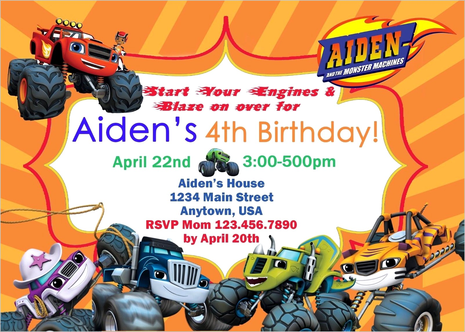 Blaze And The Monster Machines Invitations