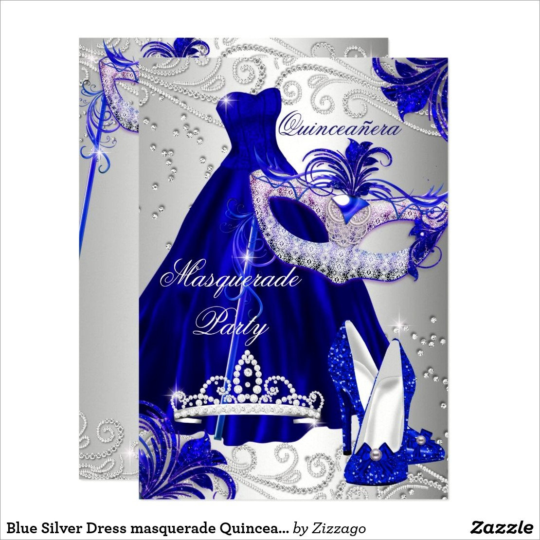 Blue And Silver Quinceanera Invitations