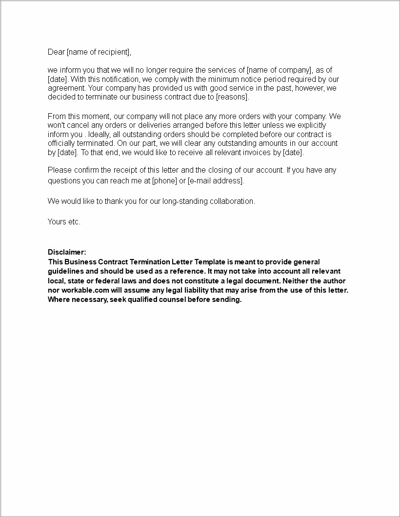 Business Contract Termination Letter Sample