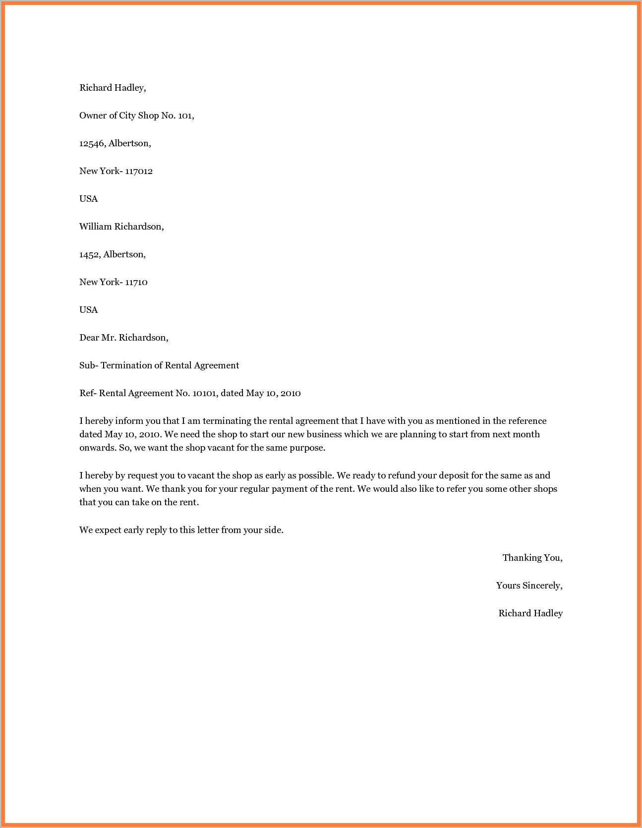 Business Contract Termination Letter Uk