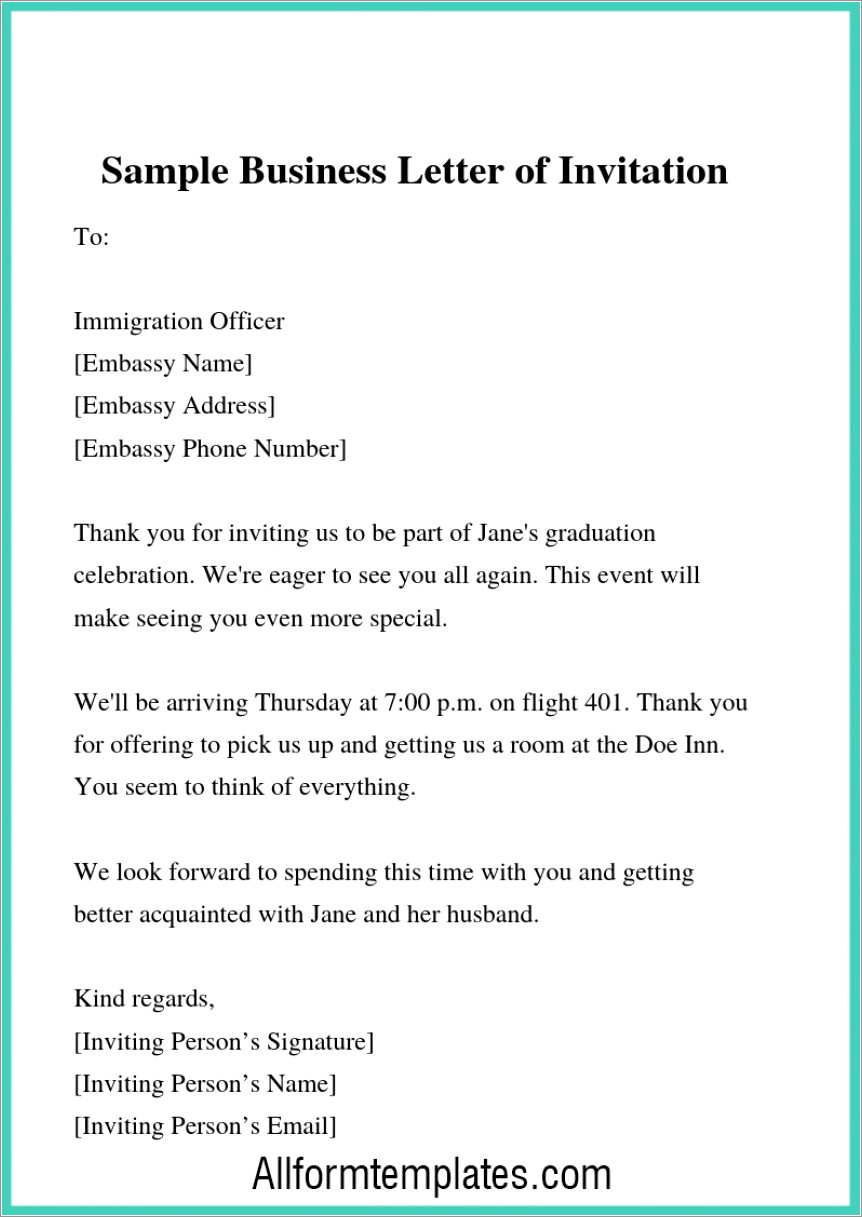 Business Invitation Templates Email