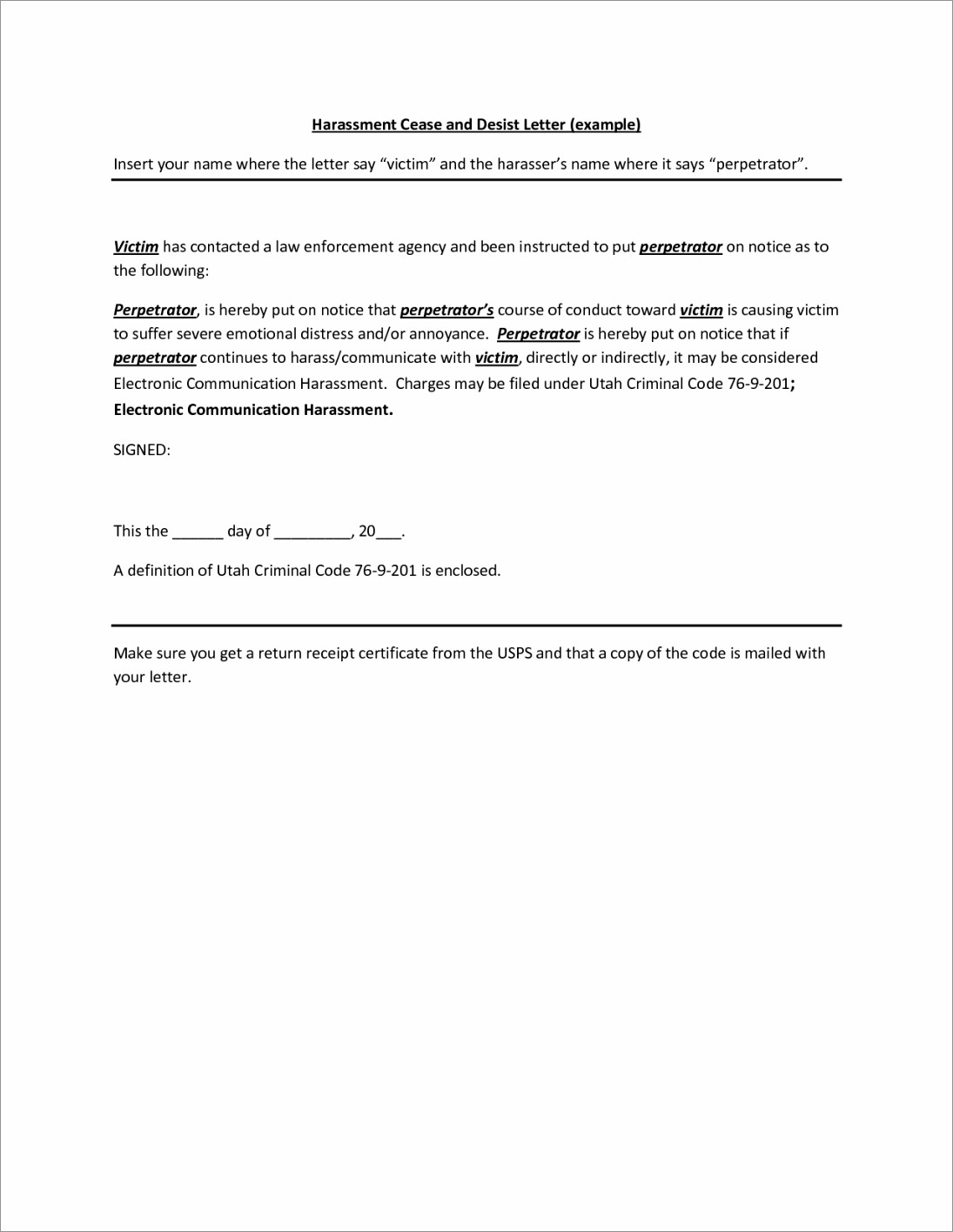 Cease And Desist Letter Template Nz