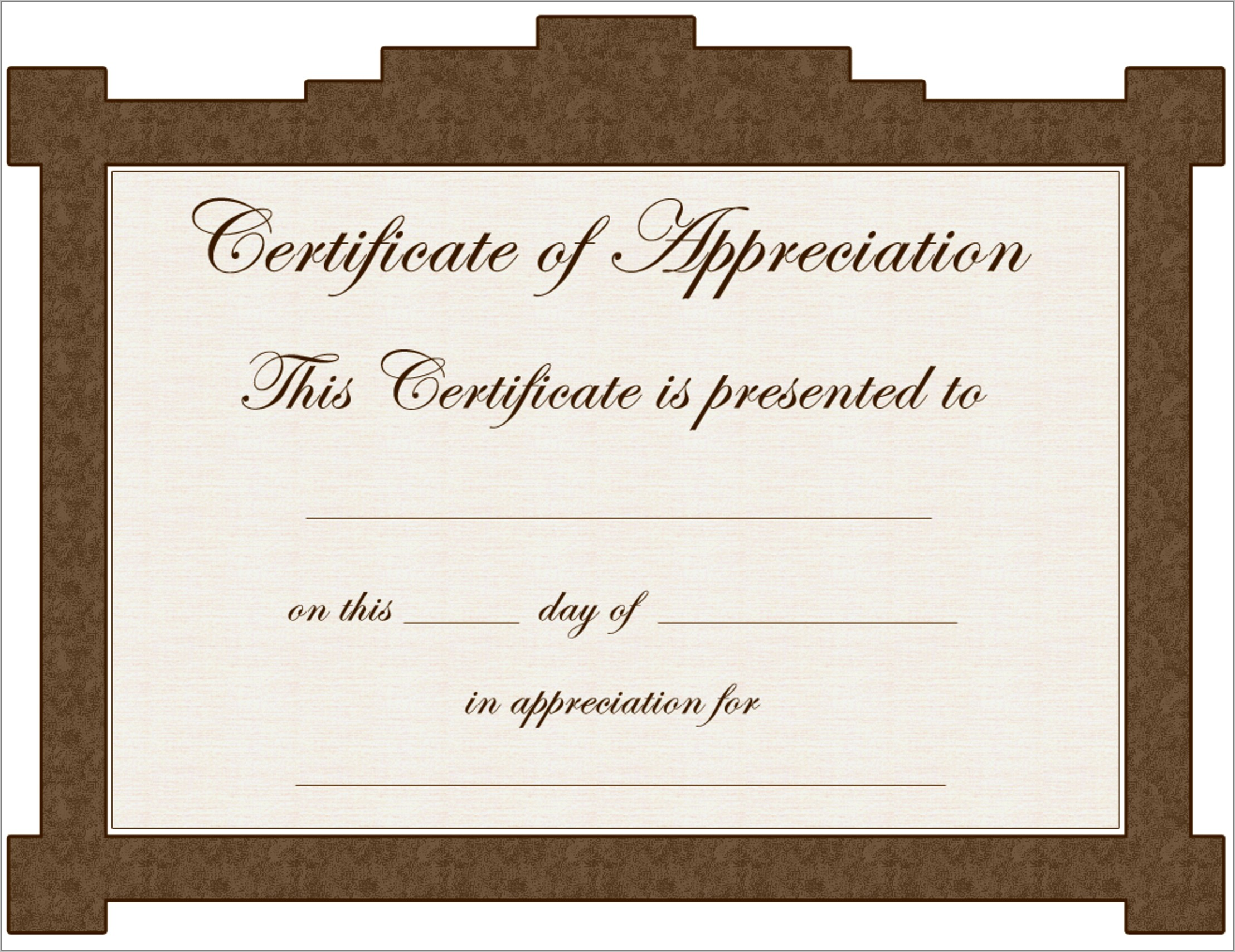Certificate Of Appreciation Template Free Word