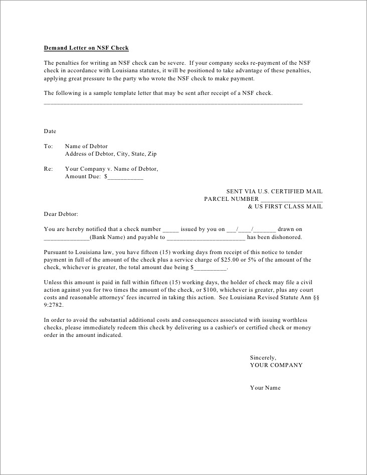 Certified Letter For Nsf Check