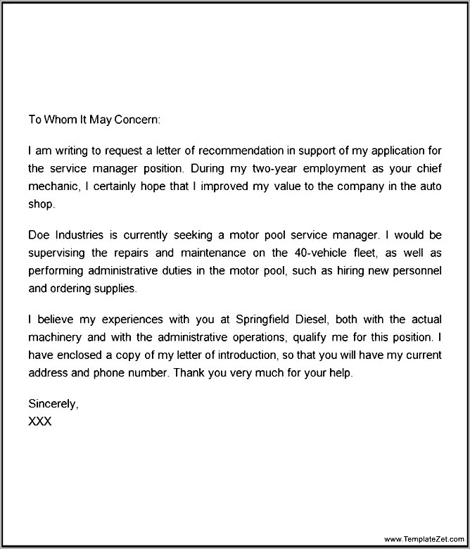 Character Letter For Child Custody Example