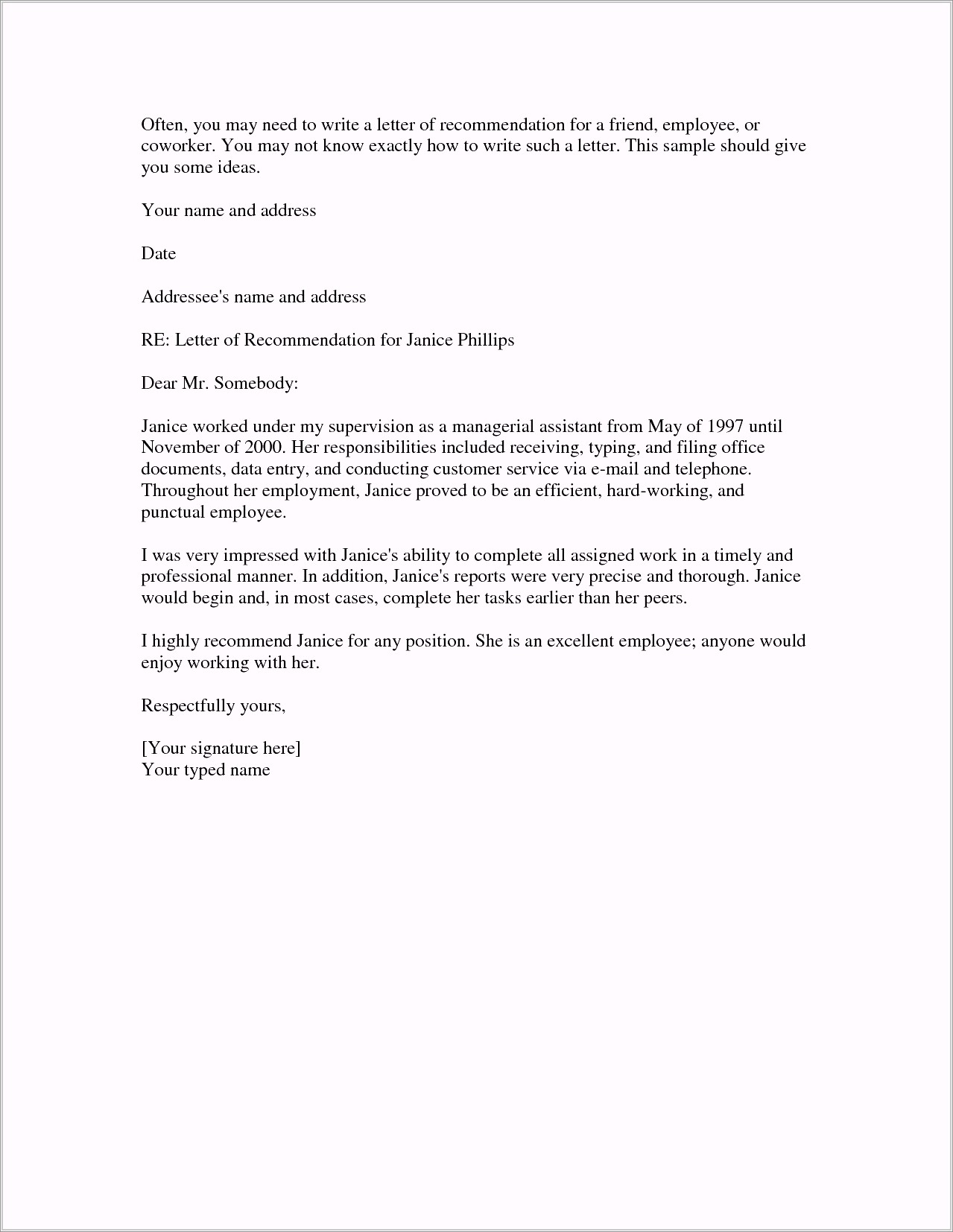 Character Reference Letter For Court Template Nz