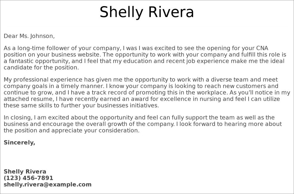 Cna Cover Letter Examples