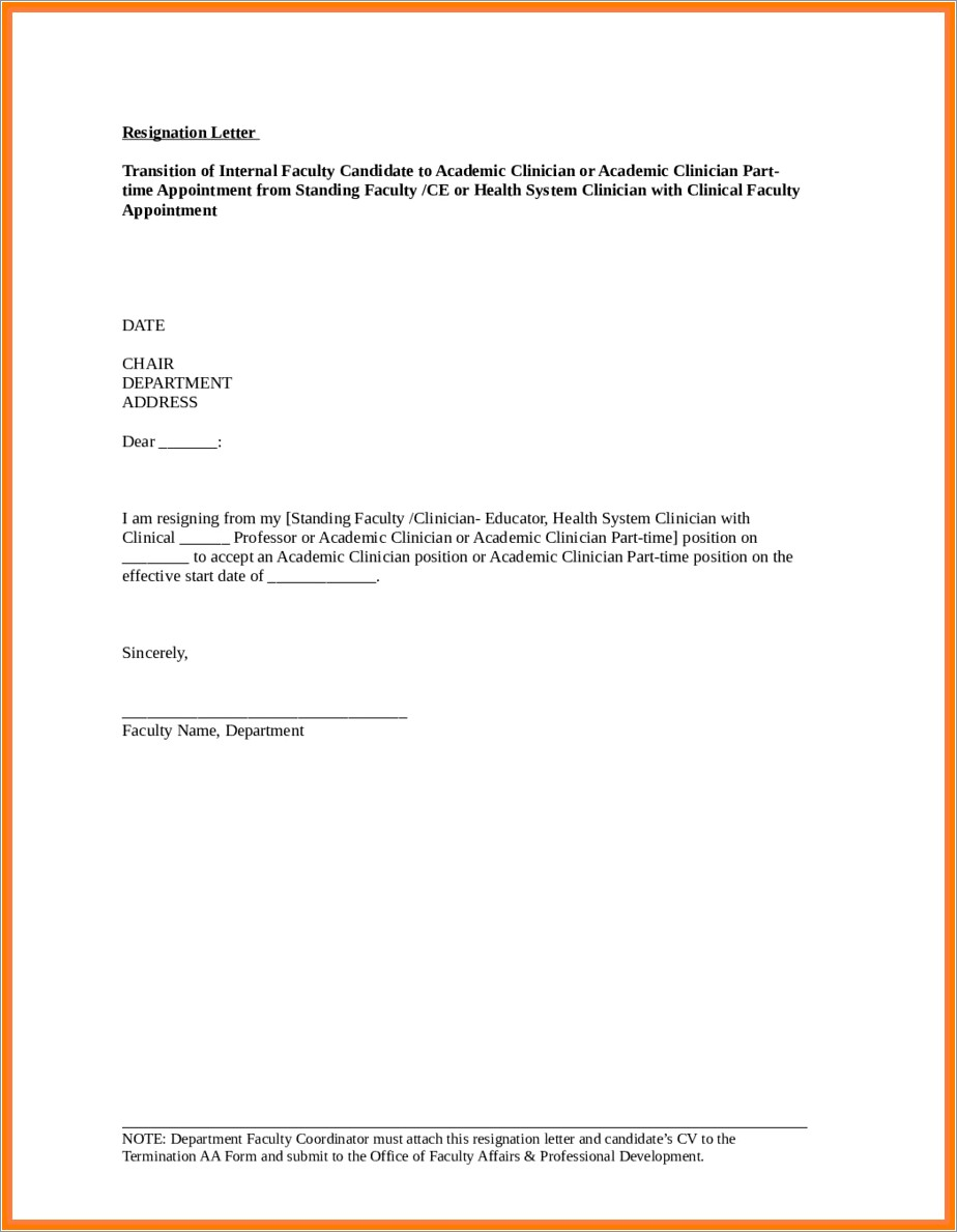 Cna Resignation Letter Sample