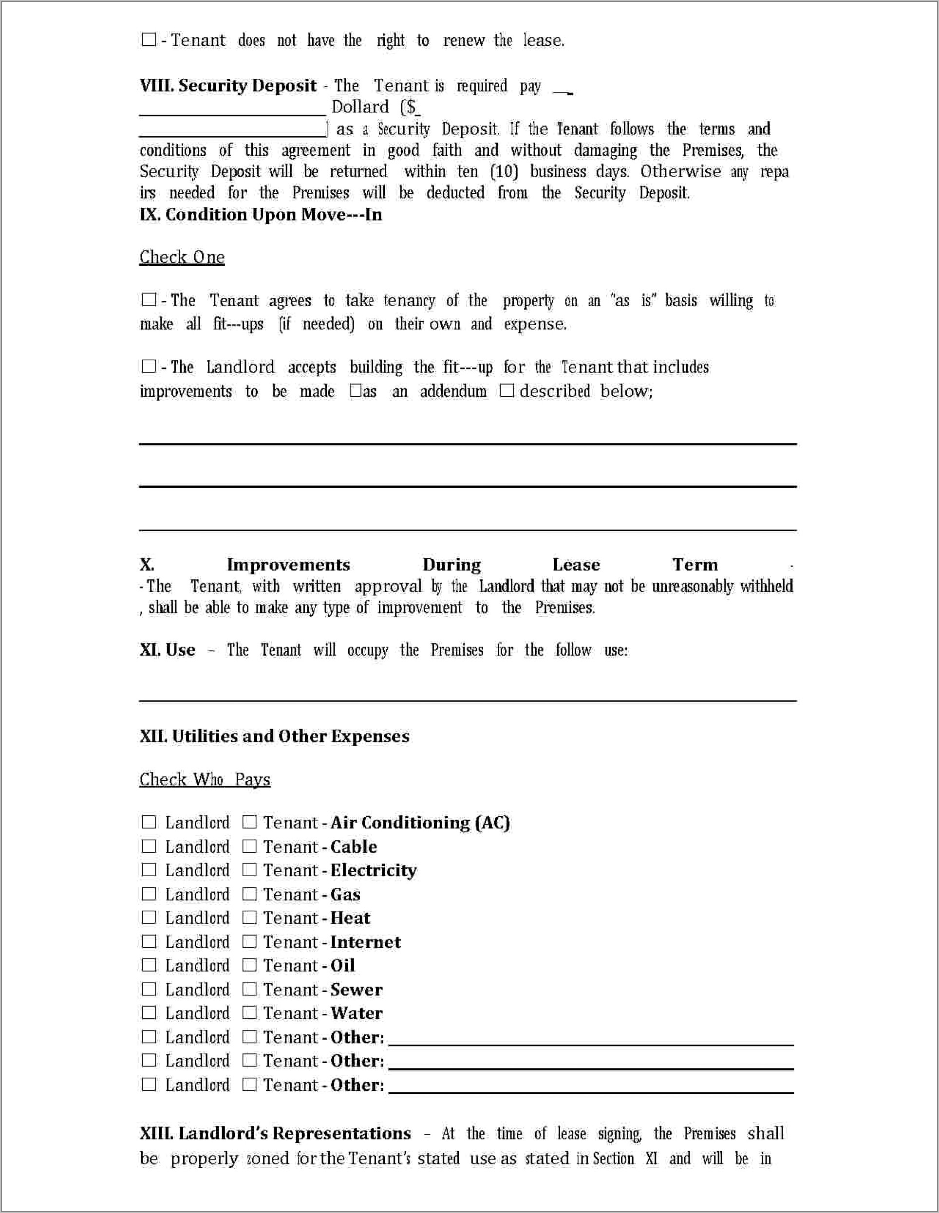 Commercial Property Lease Agreement Template Word
