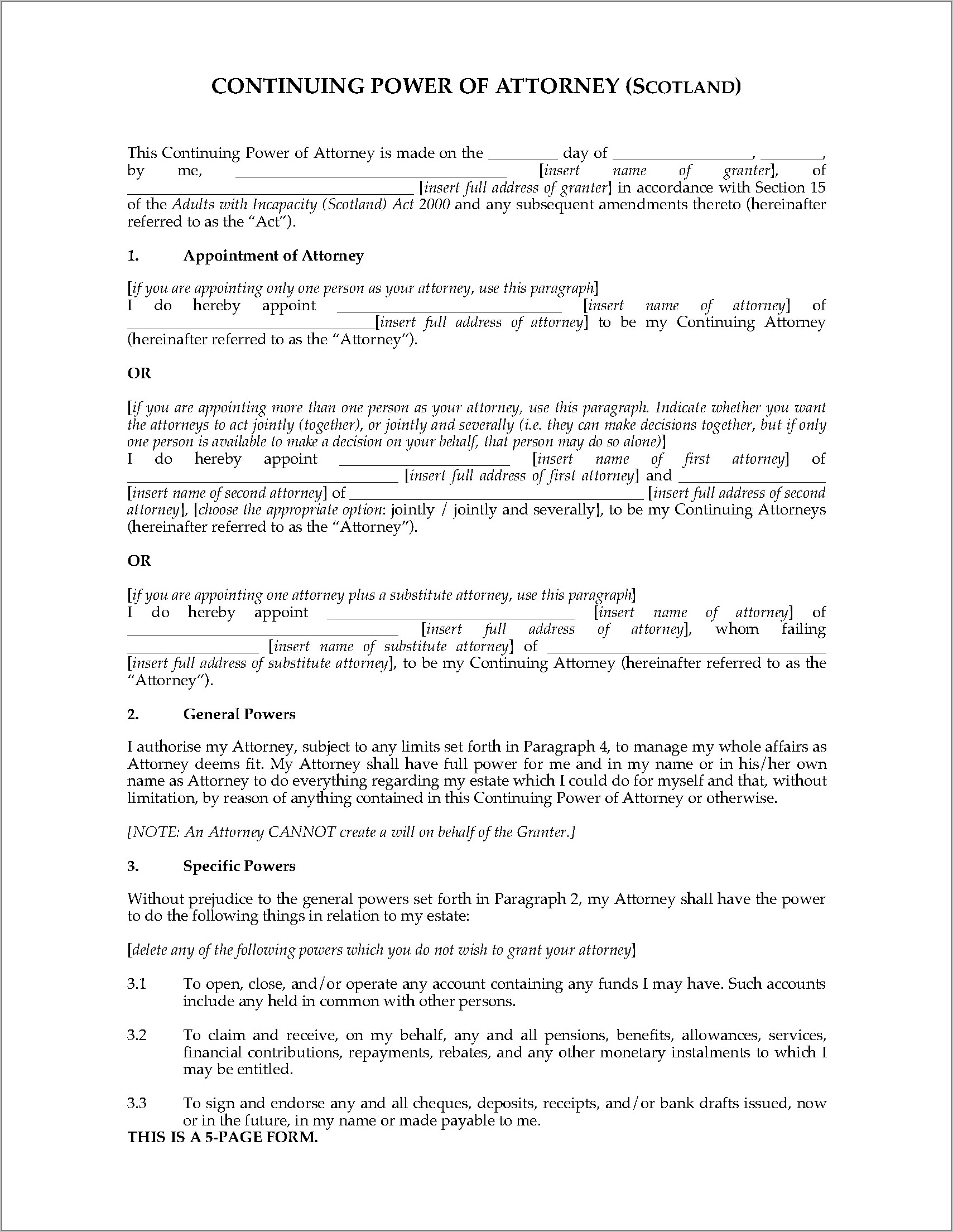 Continuing Power Of Attorney Scotland Template
