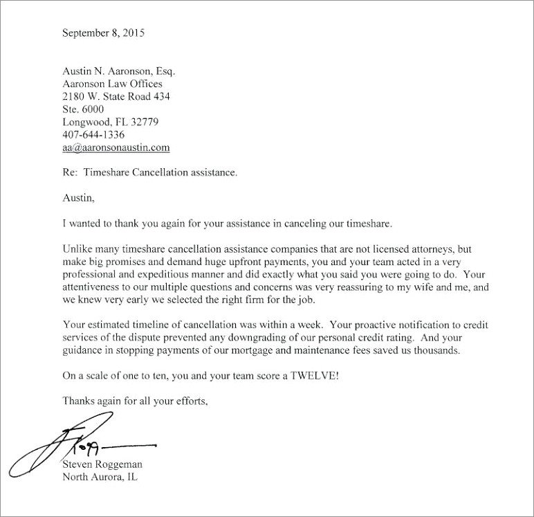 Copy Of Timeshare Cancellation Letter