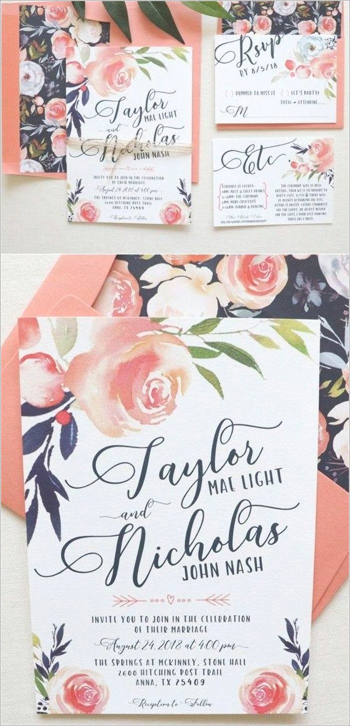 Coral And Navy Blue Wedding Invitations