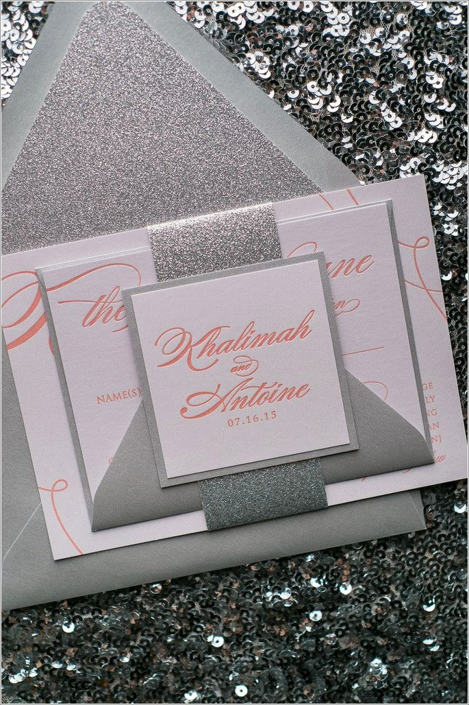 Coral And Silver Wedding Invitations
