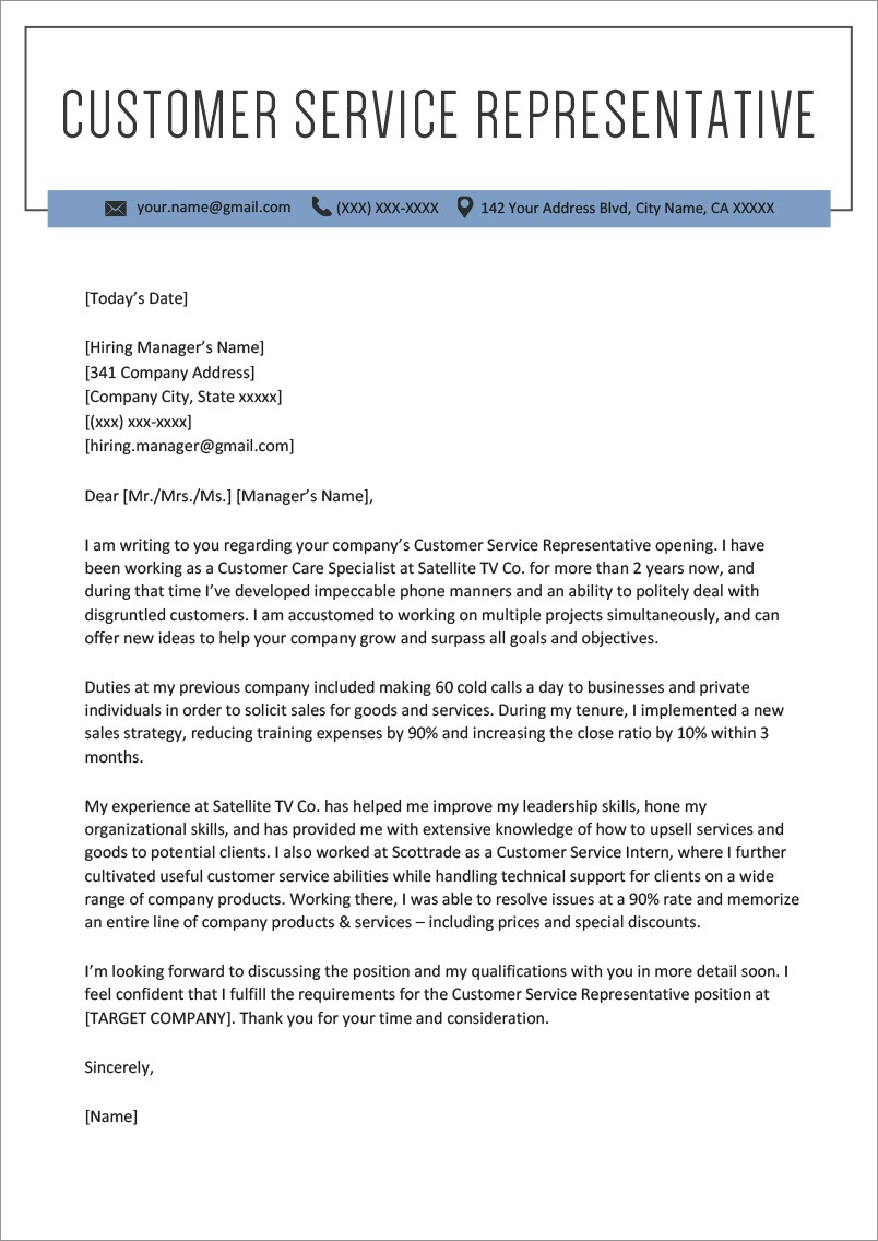 Cover Letter Examples For Customer Service Position