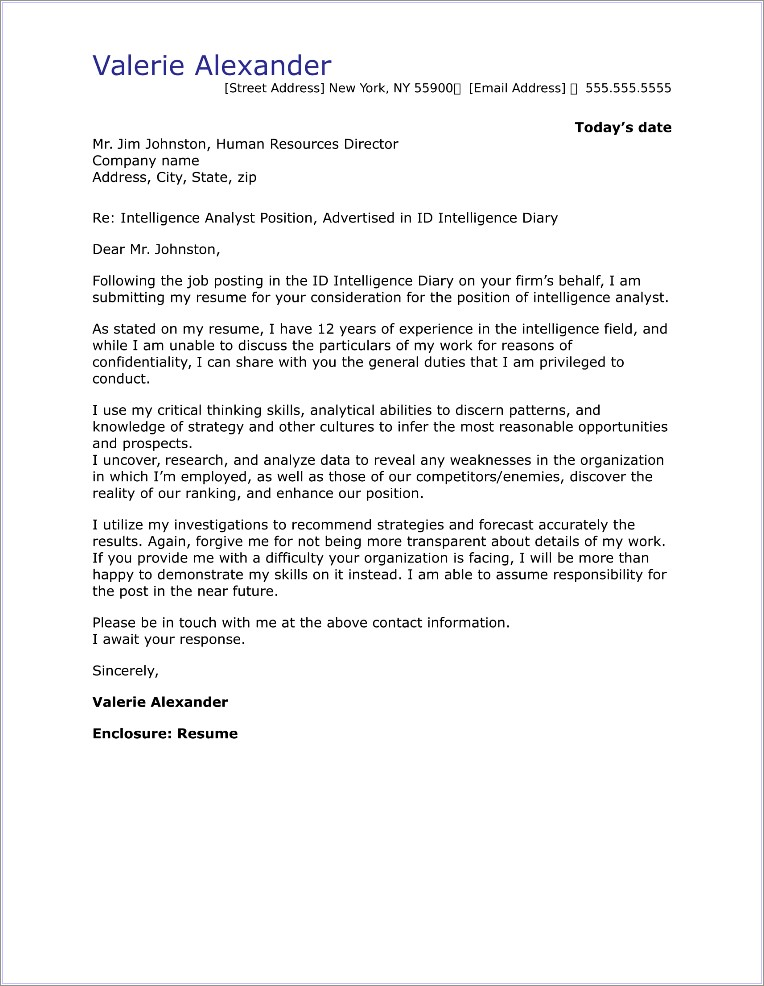 Cover Letter Examples For Investigator Job