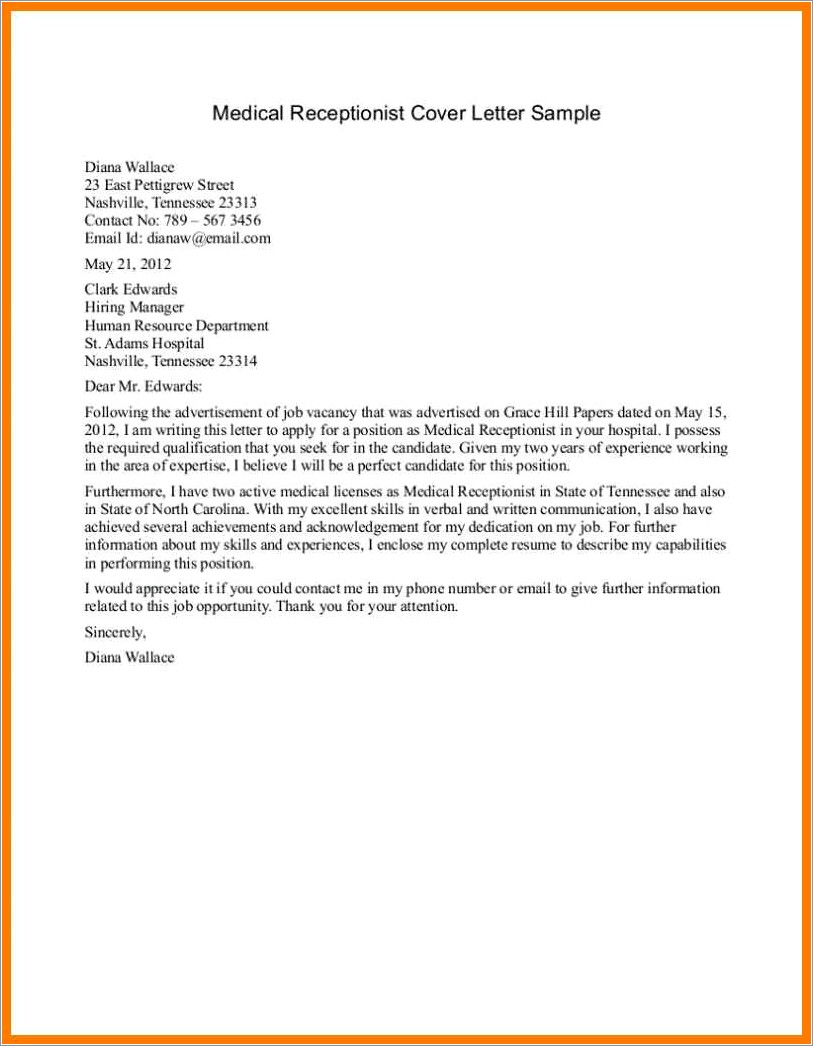 Cover Letter Examples Receptionist No Experience