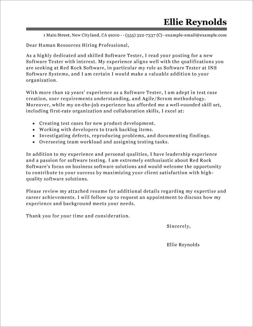 Cover Letter For Qa Engineer