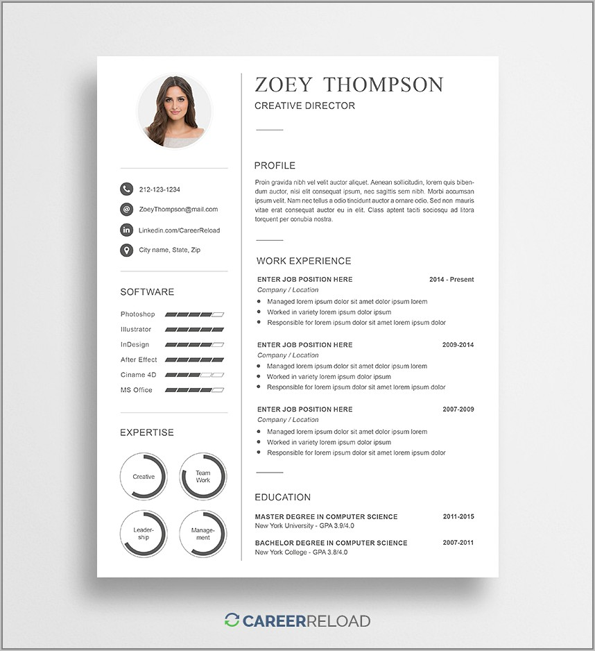 Creative Templates For Resume Free Download