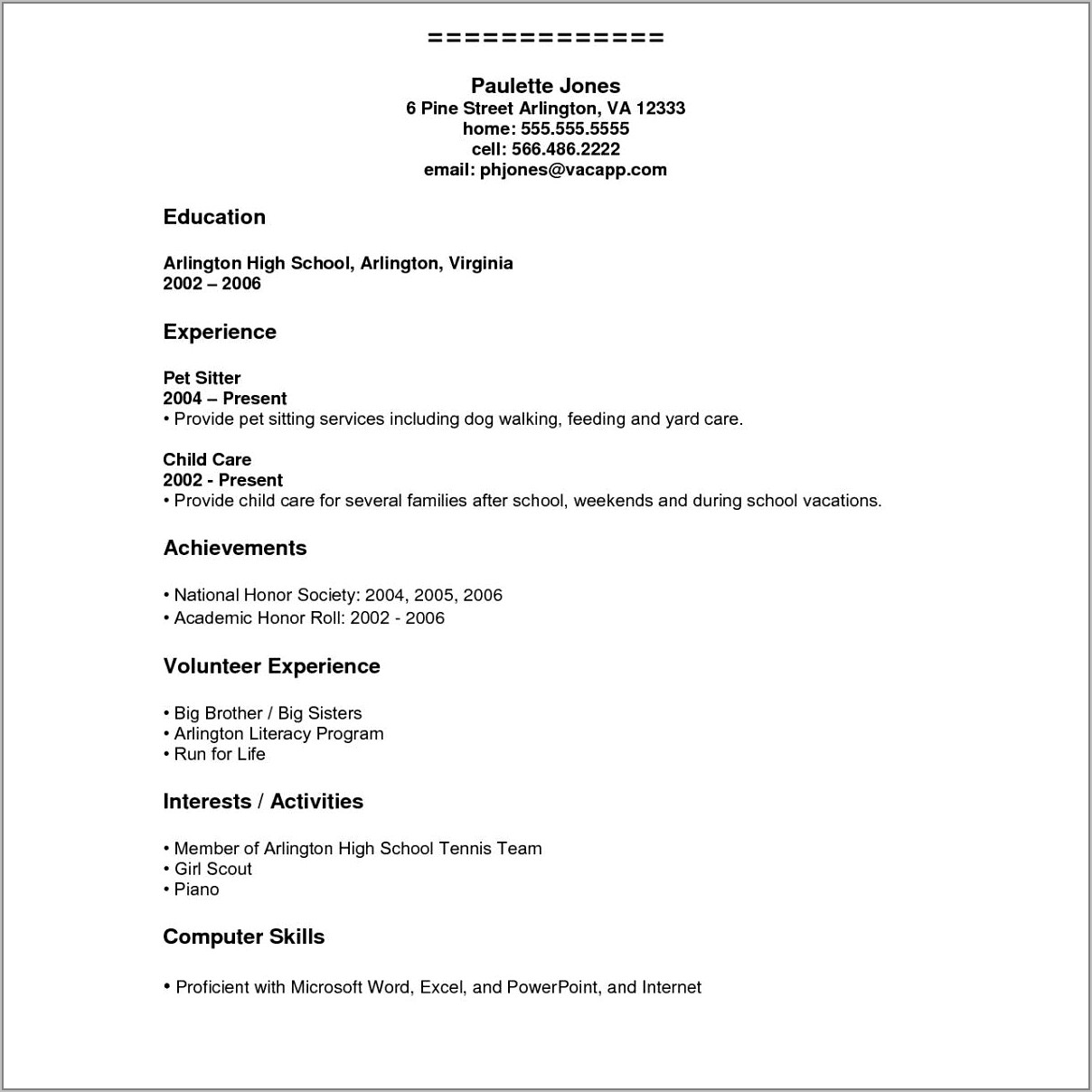 Curriculum Vitae Examples For Highschool Students