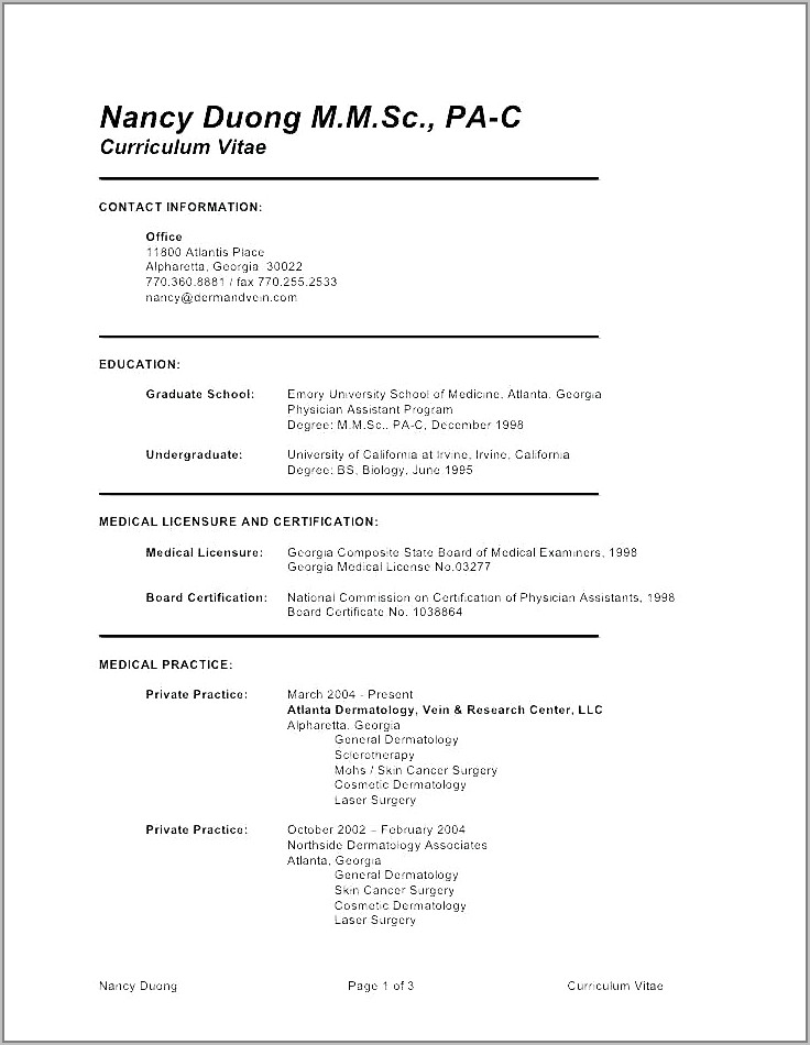 Curriculum Vitae Template For Medical Students