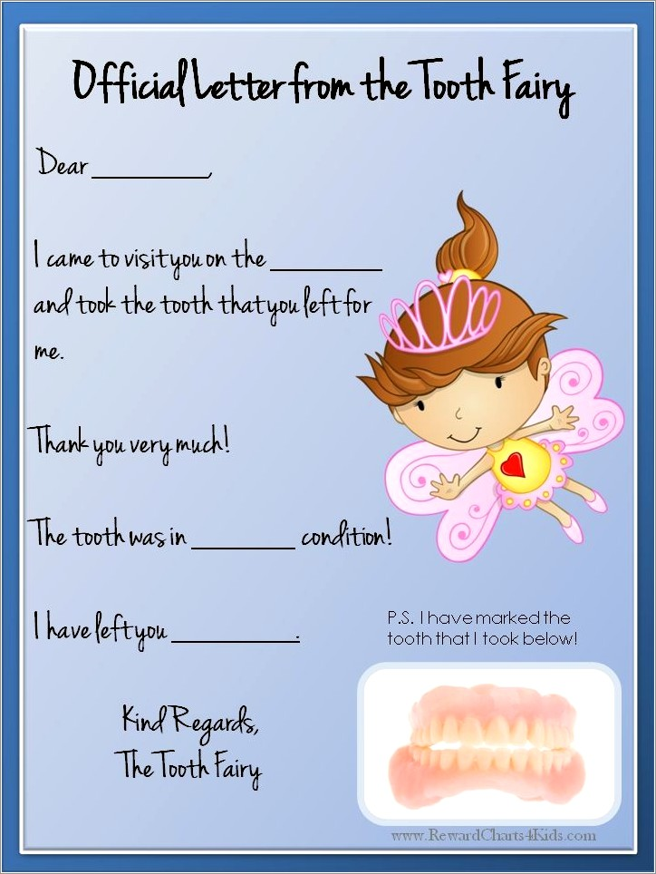 Customizable Tooth Fairy Letter Pdf
