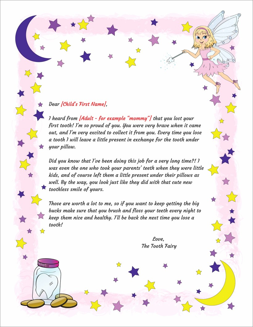 Customizable Tooth Fairy Letter Template