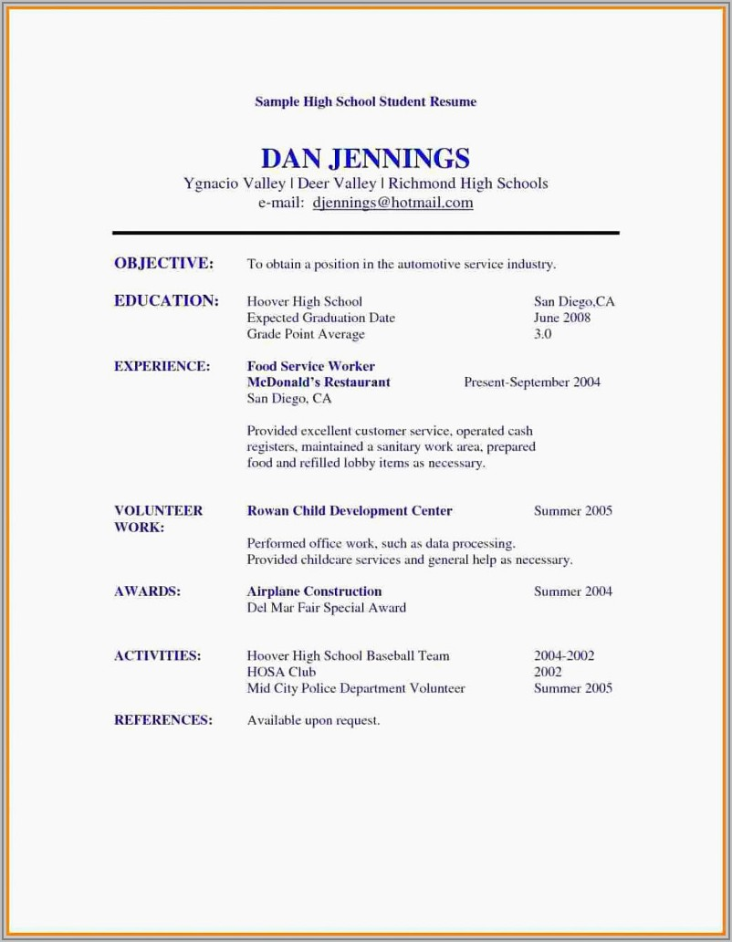 Cv Examples For Students In High School