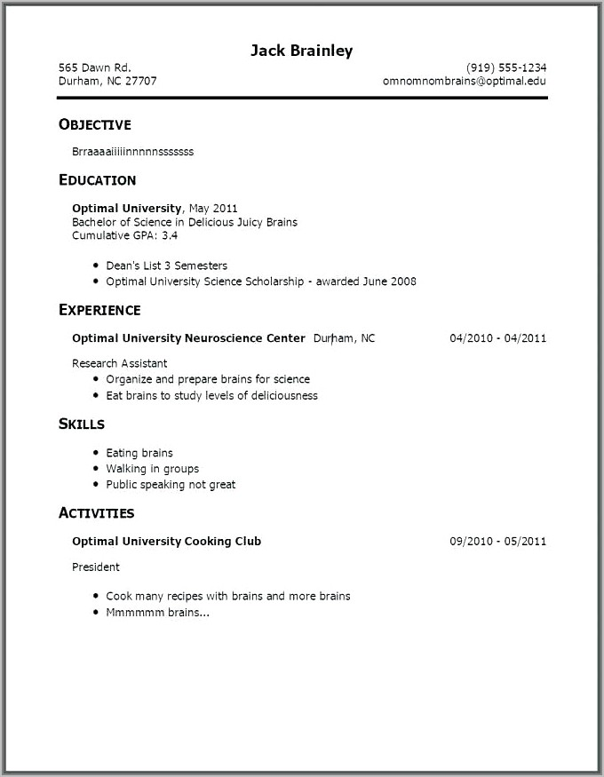 Cv Template For A Teenager