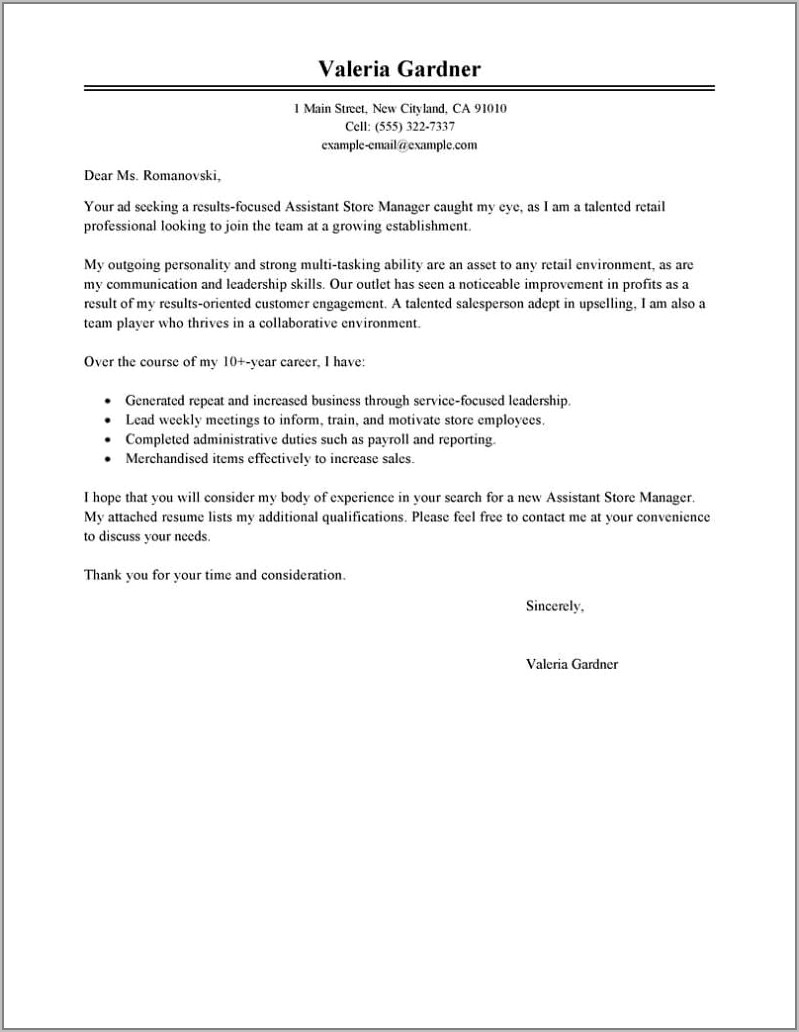 Cv Template For Retail Assistant