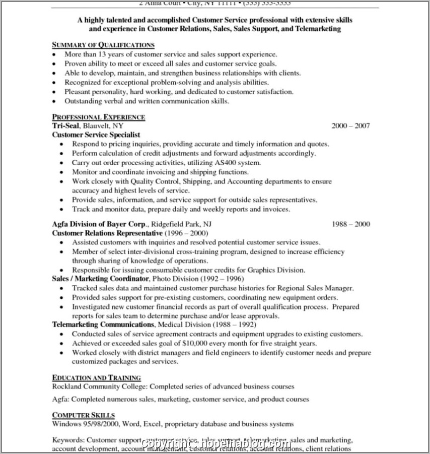 Cv Template For Retail Work