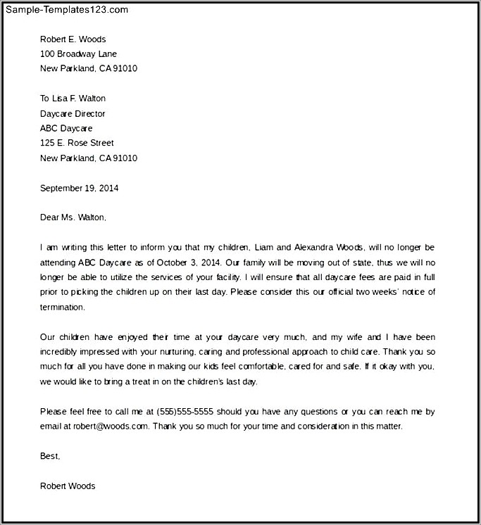 Daycare Termination Letter Template