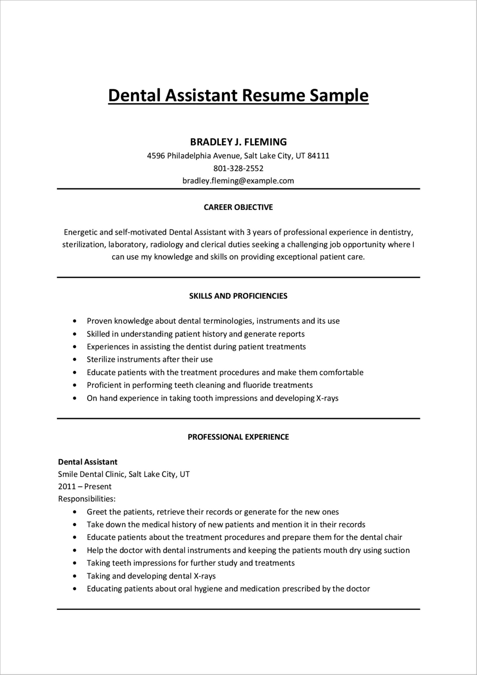 Dental Assistant Cover Letter Entry Level