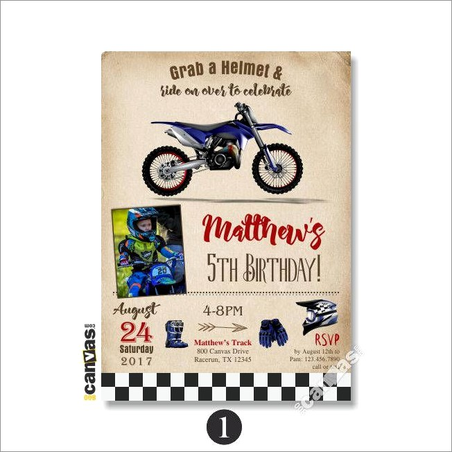 Dirt Bike Invitations Printable