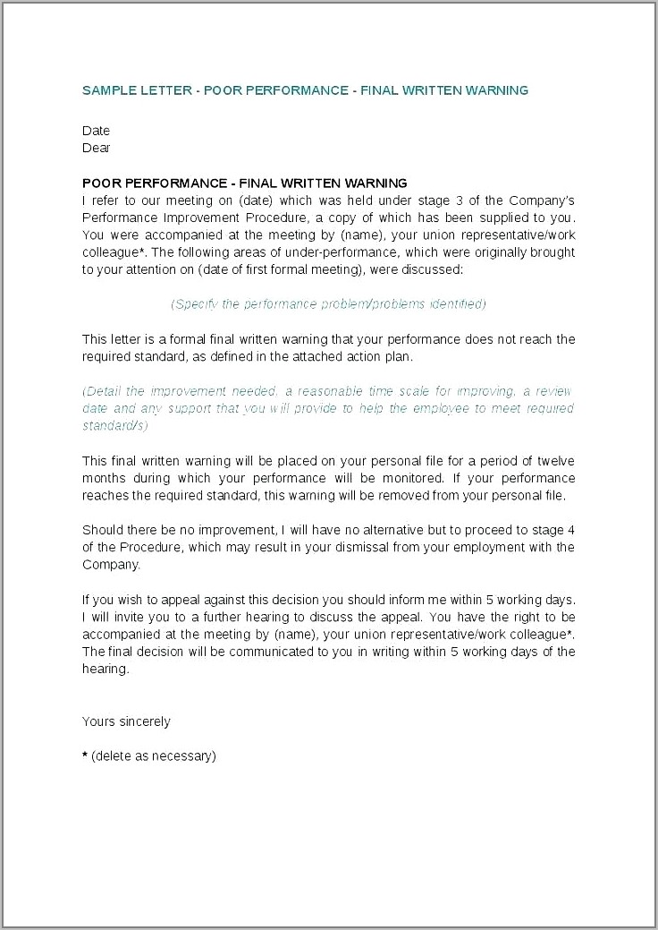 Disciplinary Appeal Outcome Letter Template