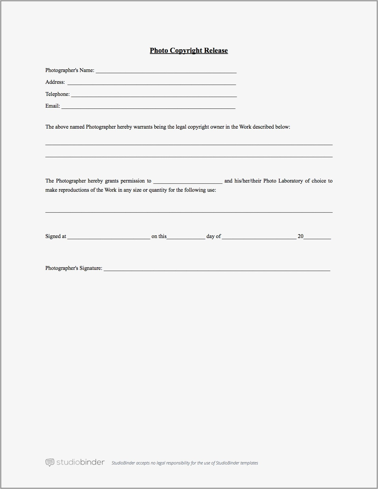 Documentary Release Form Template