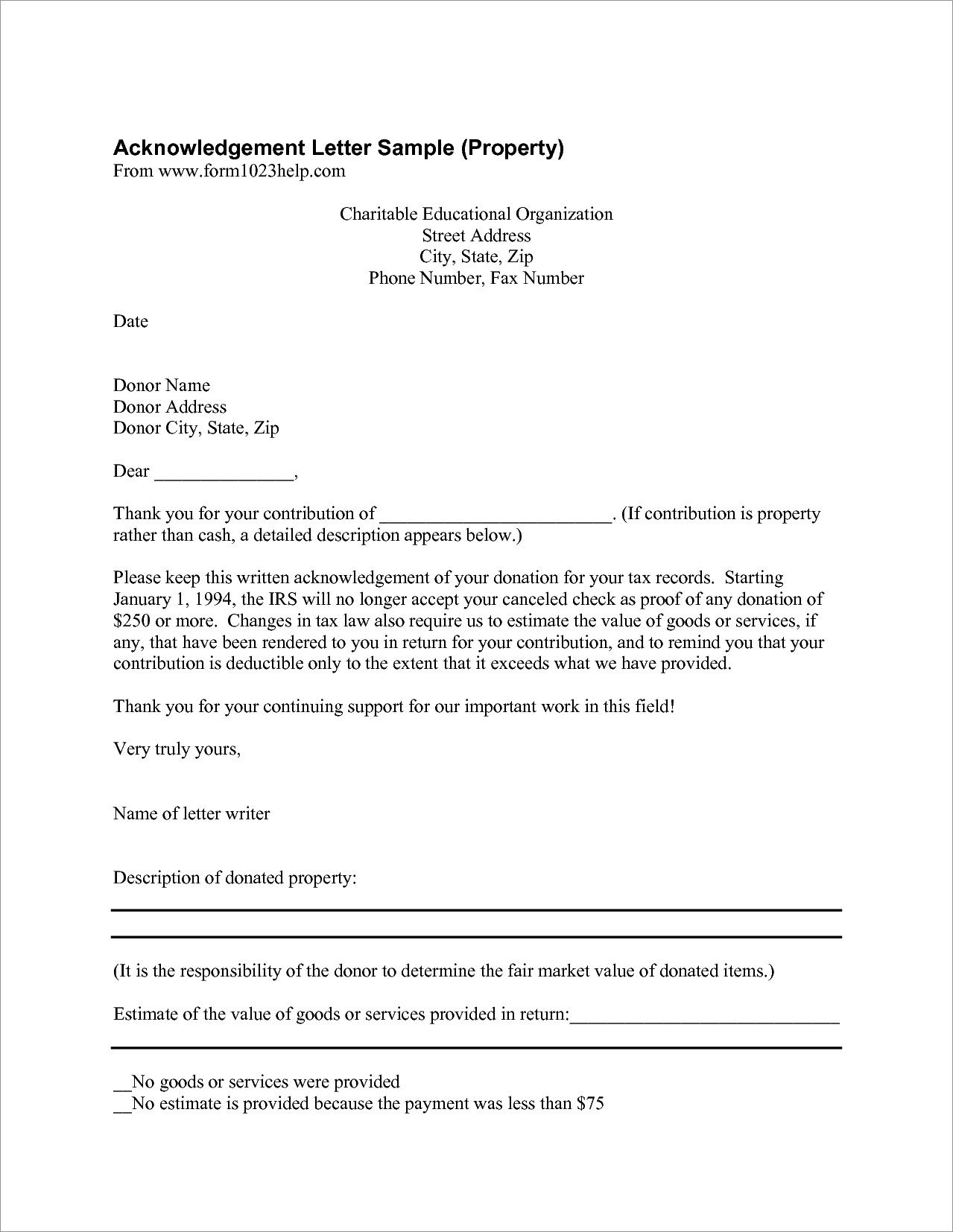 Donation Given Letter Format
