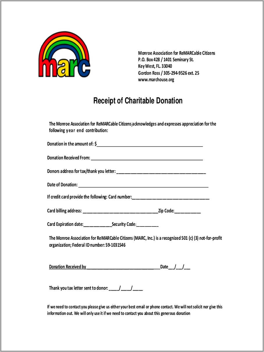 Donation Receipt Letter For Tax Purposes Template