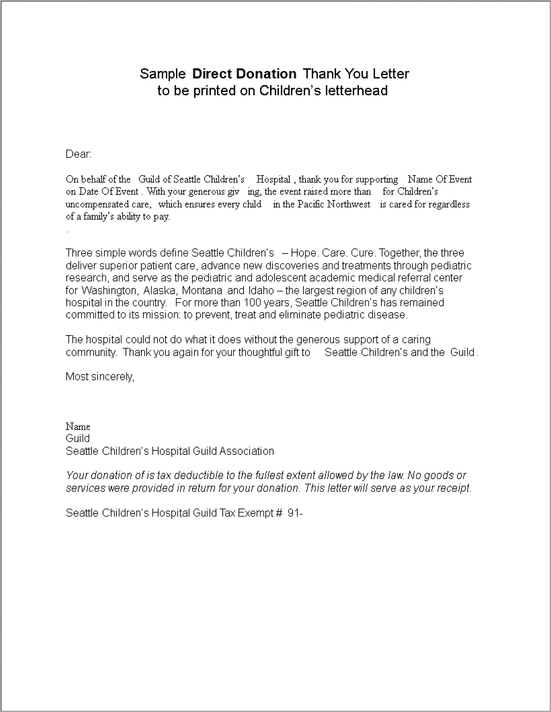 Donation Thank You Letter Template For Church