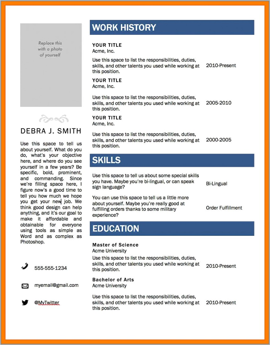 Download Resume Templates For Microsoft Word 2007