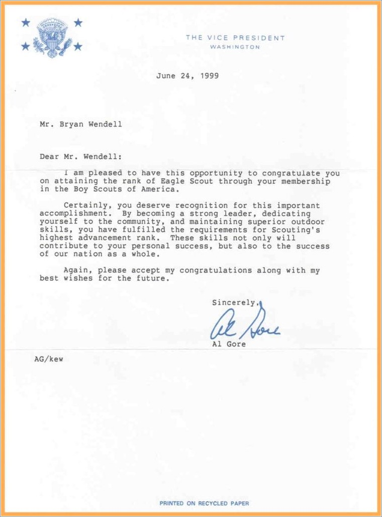 Eagle Scout Letter Of Recommendation Example