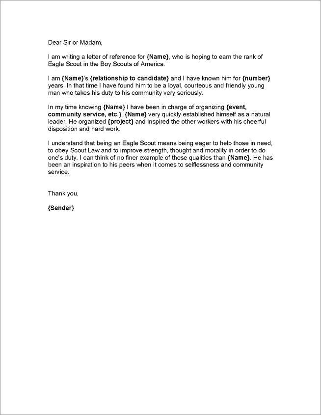 Eagle Scout Letter Of Recommendation Sample