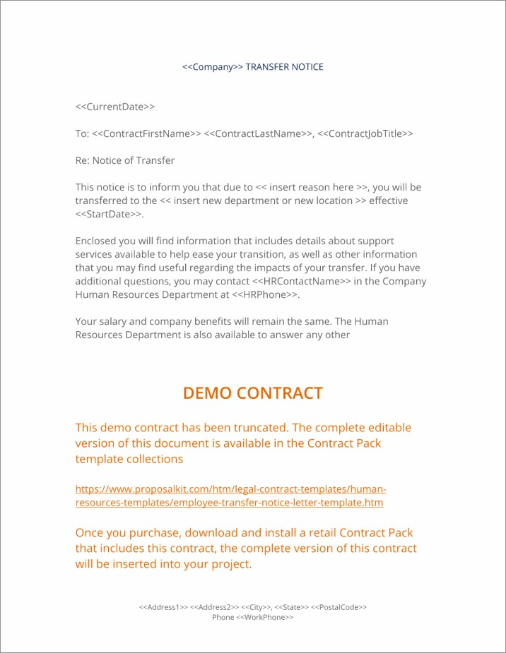 Employee Contract Termination Letter Sample Doc