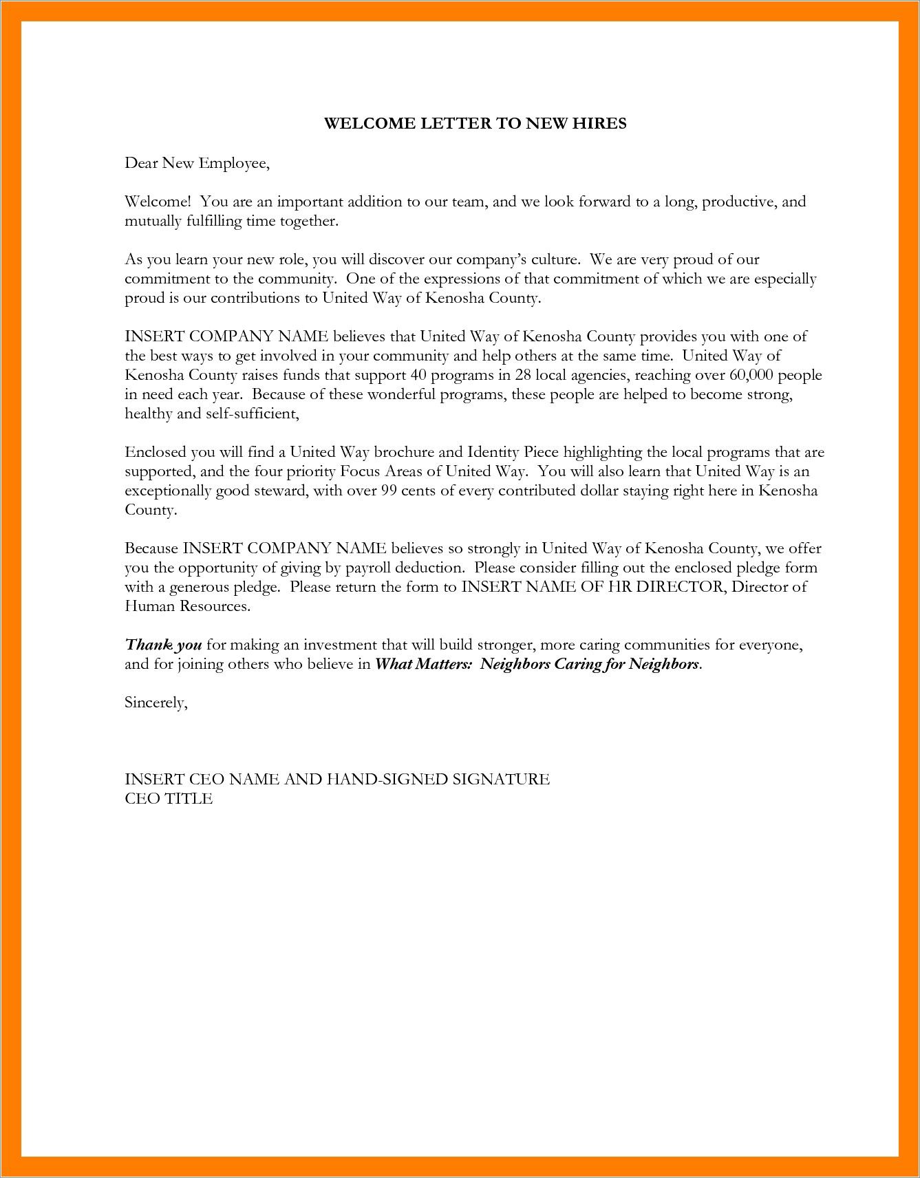 Employee Welcome Letter From Ceo