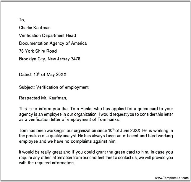 Employment Verification Letter For Visa Sponsorship